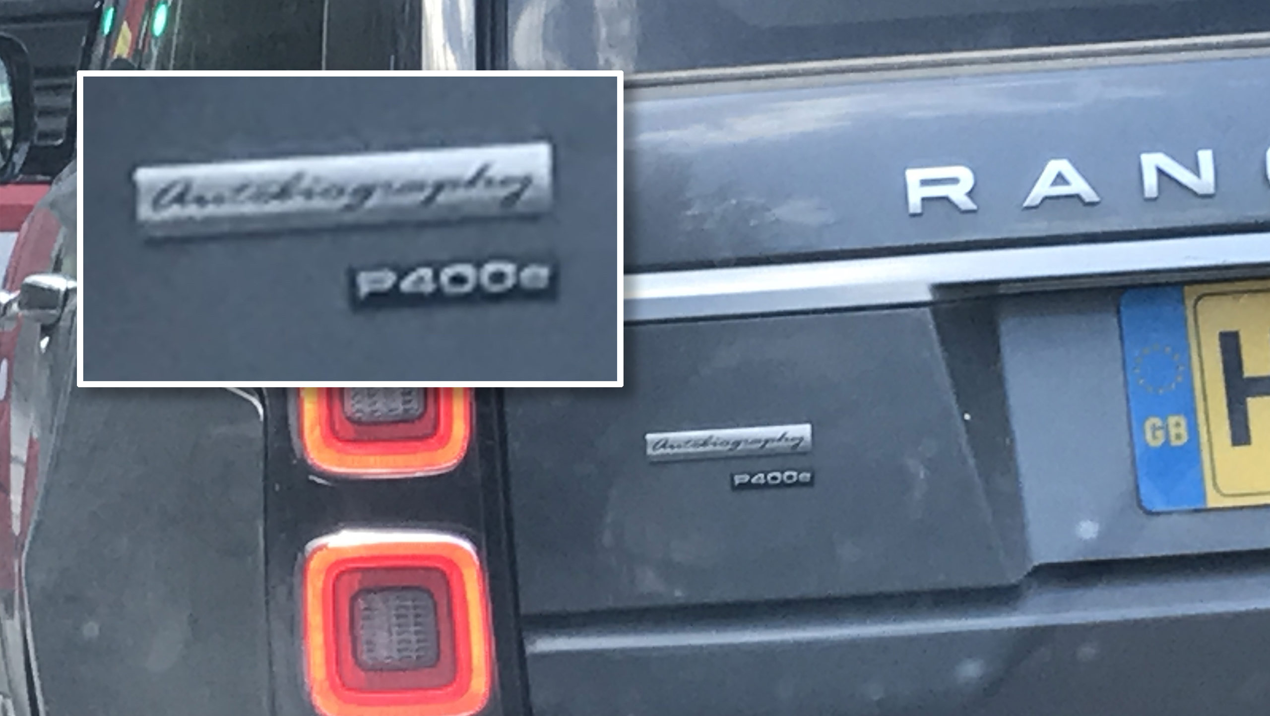 Autobiography label on the back of a Range Rover