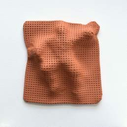 Last night's dream 01 - patterned terracotta ceramic sculpture by Simon Fell -front view