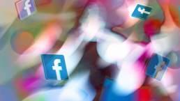 Facebook badges on a blurred dynamic background