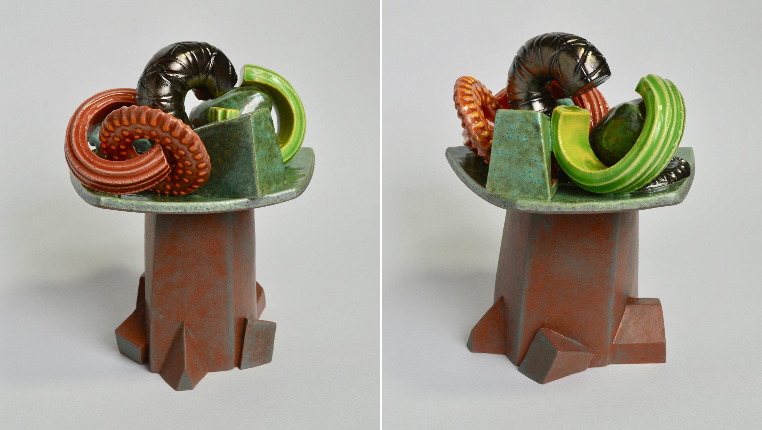 Cornucopia? A small ceramic still-life in glazed earthenware