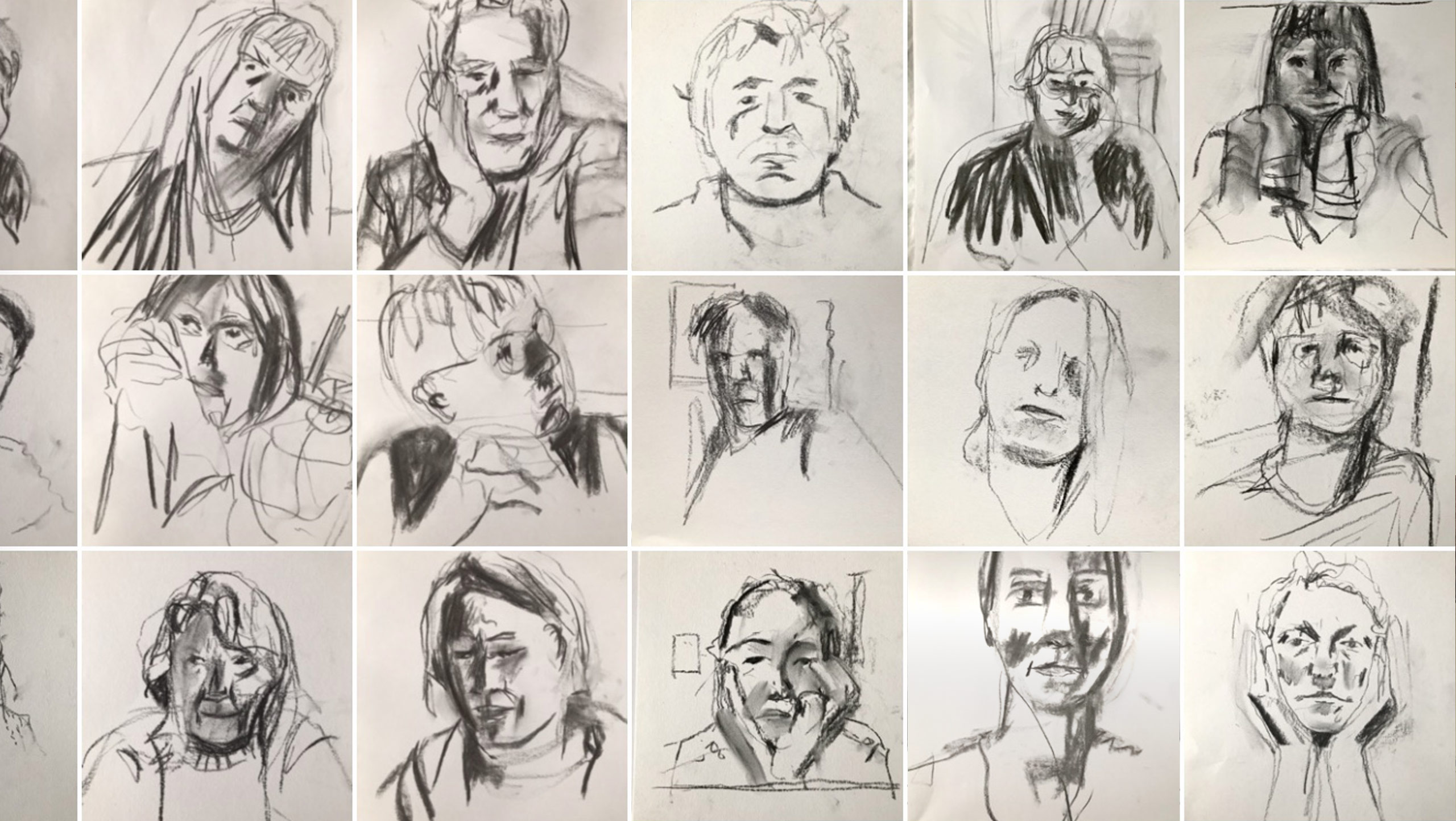 Thumbnail array of drawings in charcoal on paper of portraits made at a 'Drawing is Free' online session