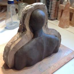 Clay figure in mould, work in progress. I no longer consider the realism of the figures very important as the objects manage to retain their 'presence' despite a lot of variation in proportions and any sense of realism or accuracy.