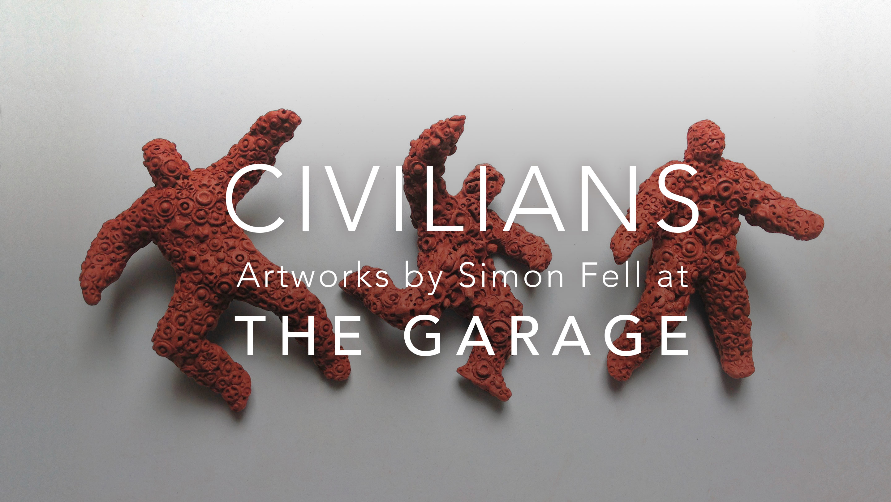 Civilians, artworks by Simon Fell at THE GARAGE, weFalling Figures image in the background
