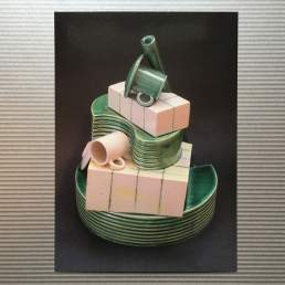Postcard showing: 'Monument to the unknown potter.' Ceramic sculpture by Simon Fell, postcards from the archive