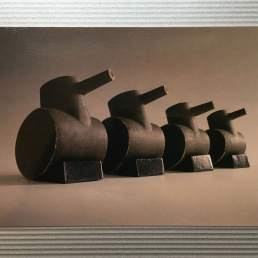 Postcards showing: 'Tank family' Ceramic sculpture by Simon Fell, key pieces from the archive